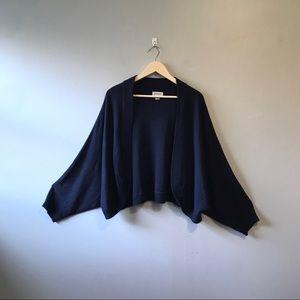 Plus Size Shrug Sweater Bat Wing Short Navy Blue